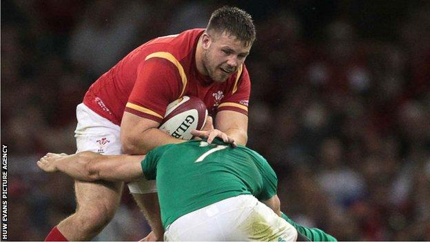 Rob Evans in action for Wales against Ireland in Cardiff