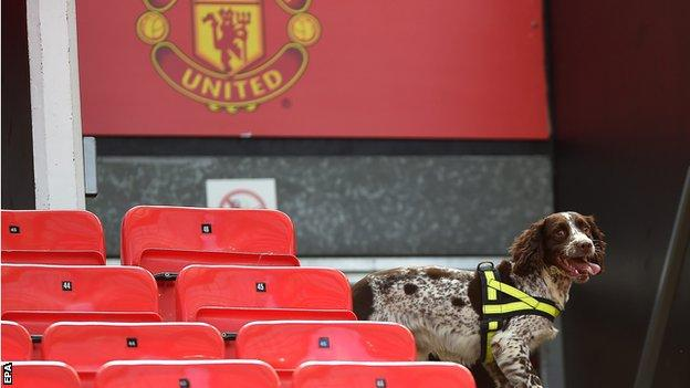Police sniffer dogs were used at Old Trafford as part of the security check