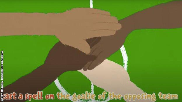 """Animation of goat and chicken from music video featuring Pele and Rodrigo y Gabriela. Text reads: """"cast a spell on the goalie of the opposing team"""""""