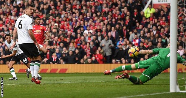 Marcus Rashford scores Manchester United's second goal against Liverpool
