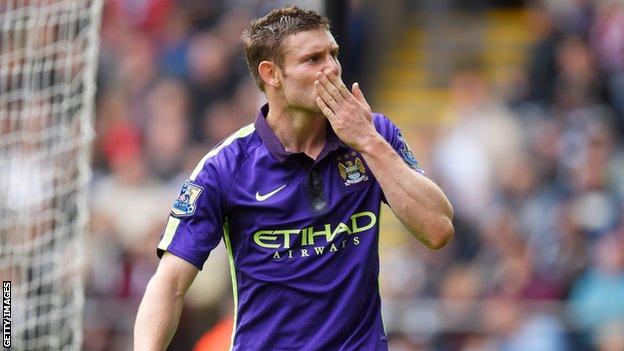 Manchester City's James Milner celebrates after scoring