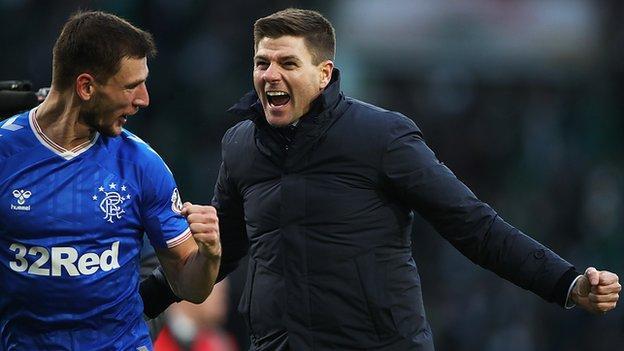 Rangers men's boss Steven Gerrard celebrates the league victory over Celtic in December