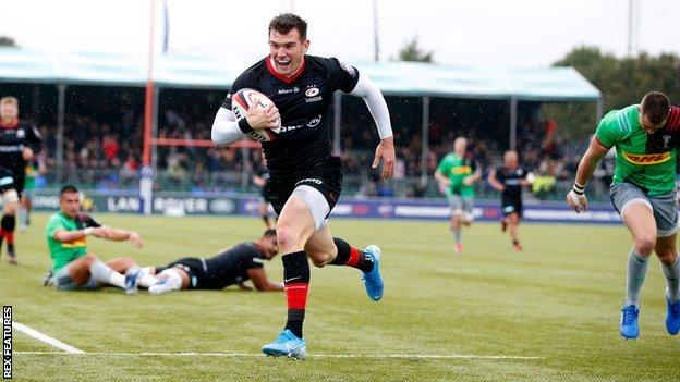 Ben Spencer scores the second his two tries for Saracens against Harlequins