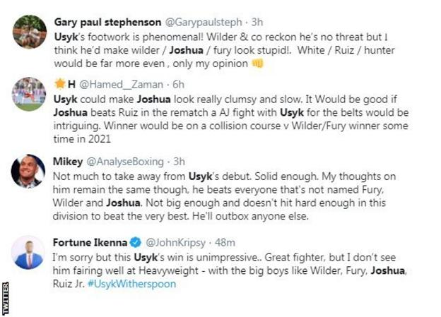 Twitter reaction to Oleksandr Usyk calling out Anthony Joshua or Andy Ruiz Jr