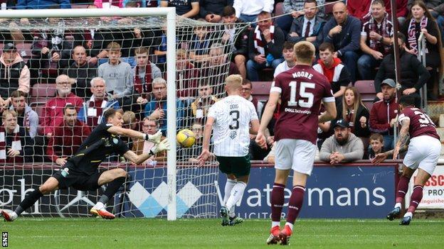 Hearts' Josh Ginnelly (right) has a header saved by Hibernian goalkeeper Matt Macey