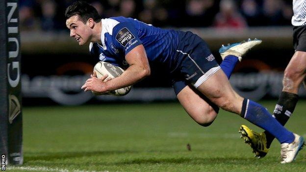 Cian Kelleher scores a try for Leinster during the Pro12 victory over Zebre in February