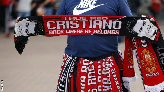 A scarf featuring Cristiano Ronaldo before his first game back at Manchester United for 12 years