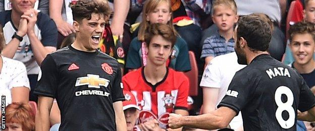 Daniel James celebrates his goal for Manchester United against Southampton