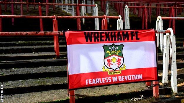 Wrexham flag on terrace