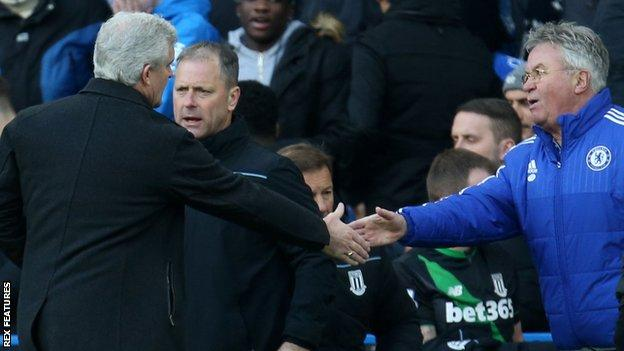 Mark Hughes became the first Stoke manager to earn a league point at Chelsea since Bill Asprey in December 1984