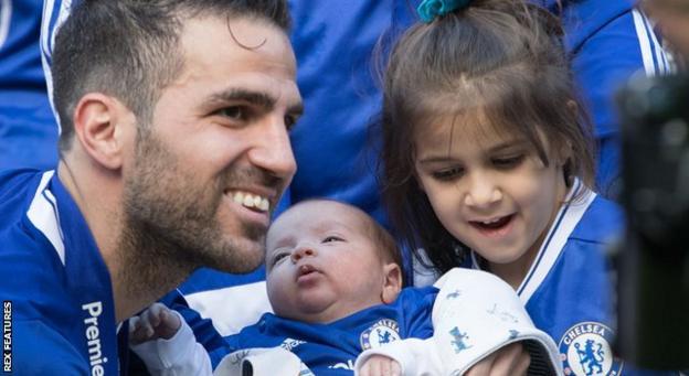 Cesc Fabregas and his children