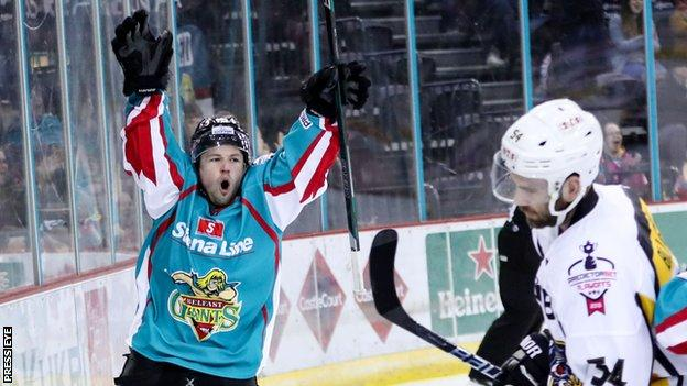 Darcy Murphy celebrates after putting Belfast ahead in Friday's game