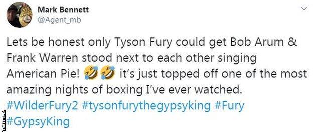 Twitter reaction to Tyson Fury singing 'American Pie' after beating Deontay Wilder