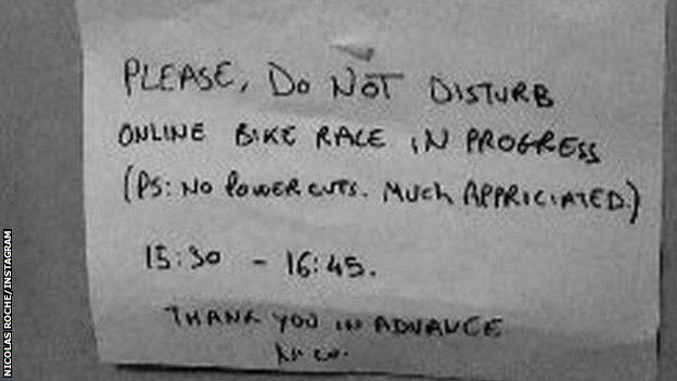 Nicolas Roche posted a sign on his Instagram story saying 'Please do not disturb'