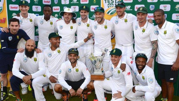 South Africa with the Test series trophy