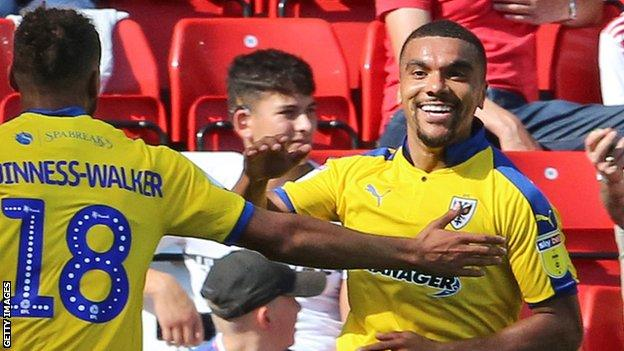 Kwesi Appiah in action for AFC Wimbledon