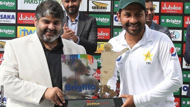 Pakistan captain Sarfraz Ahmed with the Test series trophy