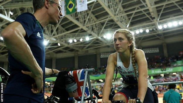 Laura Trott with her trainer