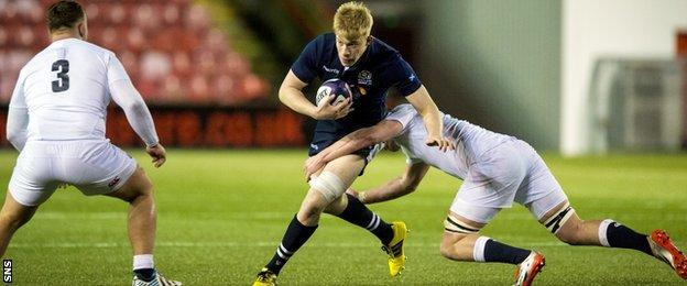 Andrew Davidson carries for Scotland U20