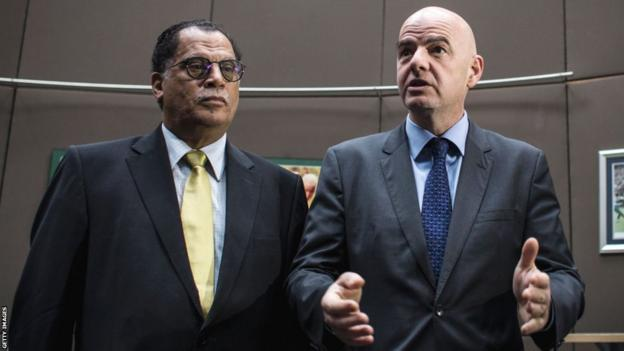 South African FA president Danny Jordaan (left) and Fifa president Gianni Infantino (right)