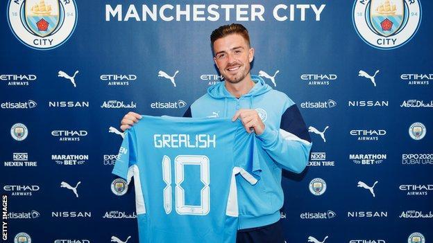 Jack Grealish in a Man City shirt