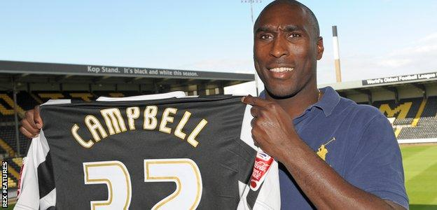Sol Campbell after signing for Notts County in August 2009