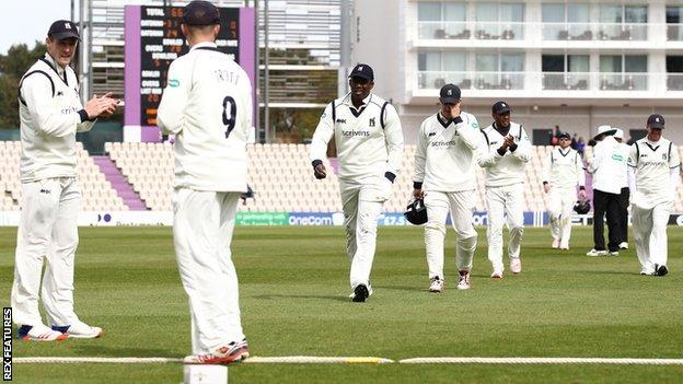 Keith Barker was applauded off after his five-wicket morning haul against Hampshire at Southampton