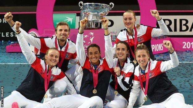 France won the Fed Cup for the third time but for the first time since 2003