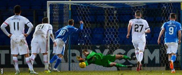 Inverness goalkeeper Owain Fon Williams saves a penalty by St Johnstone's David Wotherspoon