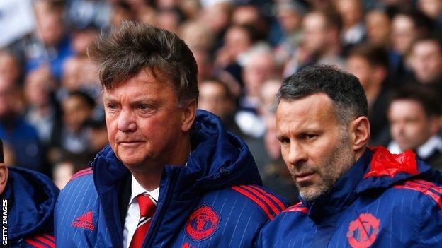 Ryan Giggs (R) was Man Utd caretaker boss before becoming Louis van Gaal's assistant