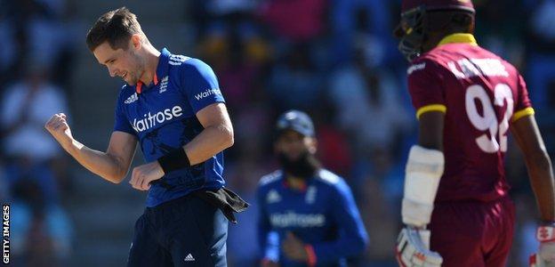 Chris celebrates Kraigg Brathwaite's wicket