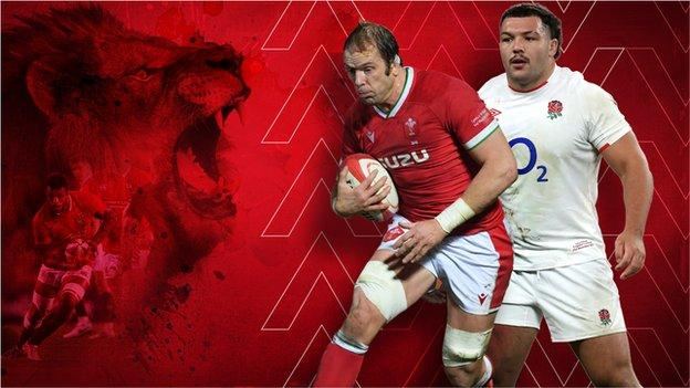A graphic showing a Lion and Alun Wyn Jones and Ellis Genge