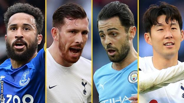 Andros Townsend (Everton), Pierre-Emile Hojbjerg (Tottenham), Bernardo Silva (Manchester City), Son Heung-min (Tottenham)