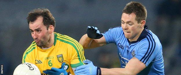 Donegal's Karl Lacey and Dublin's Dean Rock battle in last year's Football League game at Croke Park