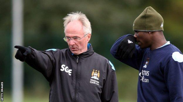Micah Richards with City boss Sven-Goran Eriksson