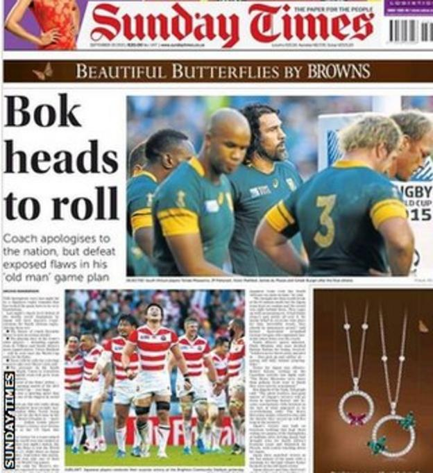 Front page of South Africa's Sunday Times