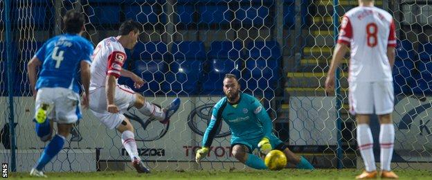 Brian Graham slots home a penalty for Ross County
