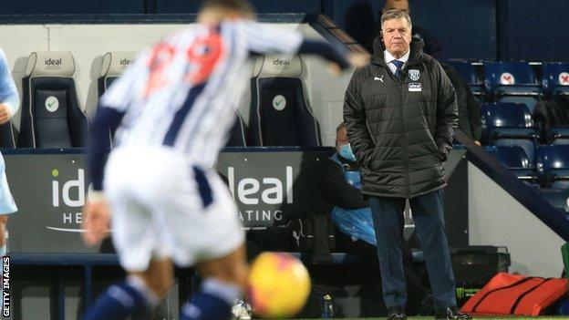 Sam Allardyce watches his West Brom side from the touchline