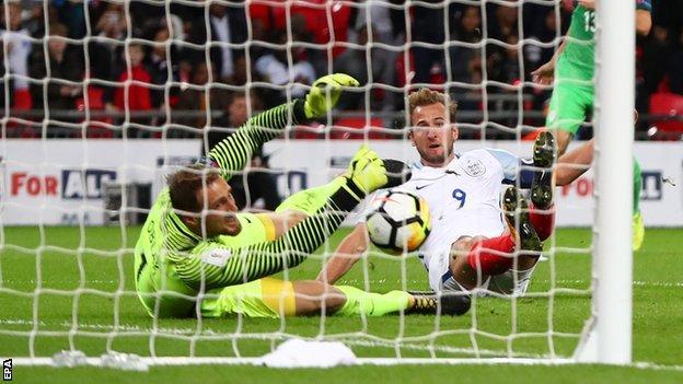 Harry Kane scores for England against Slovenia