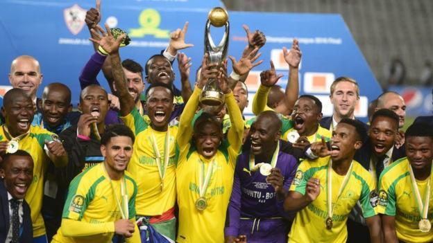 Mamelodi Sundowns lift the 2016 African Champions League trophy