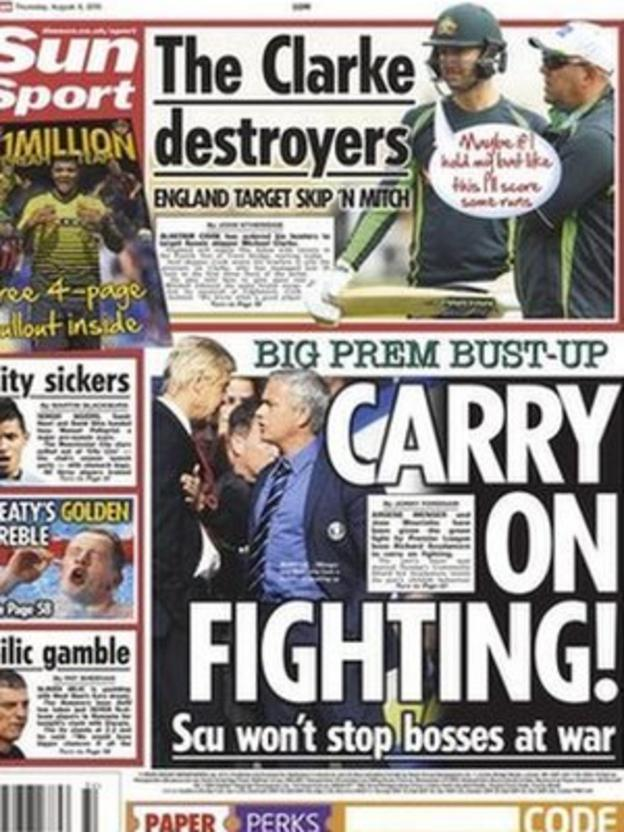 The Sun's back page on Thursday