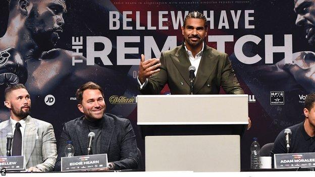 David Haye (centre) and Tony Bellew (left) and Eddie Hearn (second right) during the press conference at the Echo Arena in Liverpool