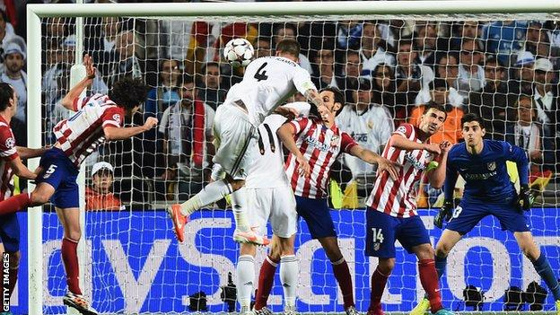 Sergio Ramos scores Real Madrid's first goal in the Champions League final against Atletico Madrid in 2014
