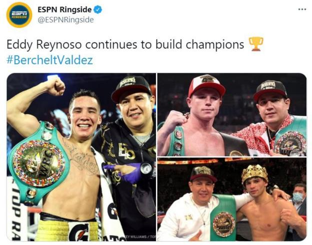 Eddy Reynoso with Valdez, Canelo and Garcia
