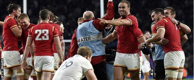 Wales celebrate against England in World Cup 2015