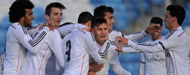 Real Madrid Castilla celebrate against Barakaldo