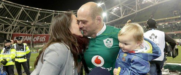 Ireland centurion Rory Best is congratulated by his wife Jodie after the win over Australia