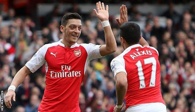 Mesut Ozil (left) with Alexis Sanchez