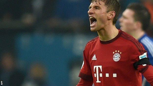 Thomas Muller celebrates his goal against Schalke