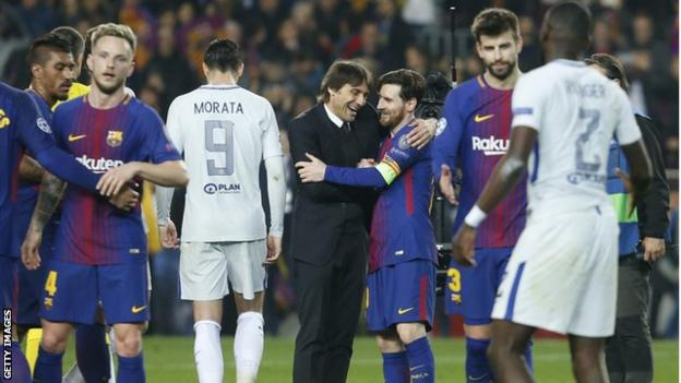 As well as consoling his own players, Chelsea boss Antonio Conte went and embraced Lionel Messi at the final whistle